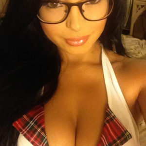 snapchat pic of demi rose with glasses on showing her cleavage in white top