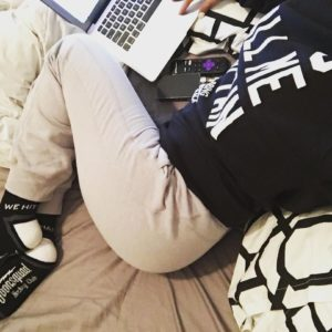 Mia Khalif sweatpants on bed