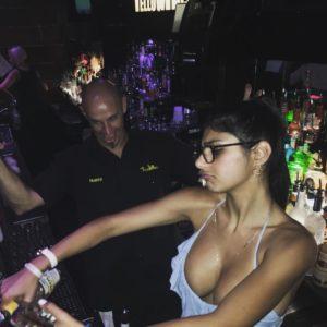 Mia Khalifa bartending boobs popping out