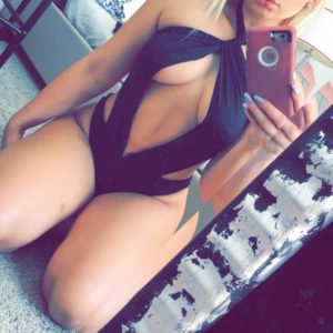 Hot blonde Zoie Burgher in black lingerie taking a selfie