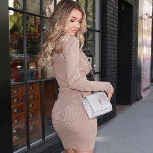 aussie model emily sears in tan dress showing off her nice booty