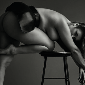 curvy girl hunter mcgrady with no pants on and topless bending over a chair