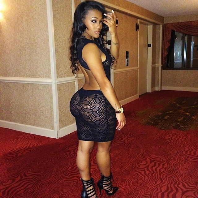 hot model lira galore also known as lira mercer in tight black dress showing off her ass