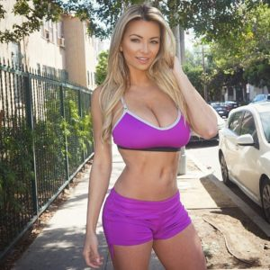 lindsey pelas in tight purple work out clothes