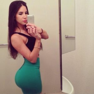 jen selter in tight green skirt and taking a booty selfie